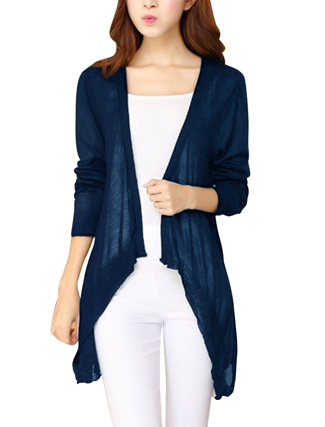 Woman Fashion Draped Front Long Sleeve Navy Blue Knit Cardigan XS