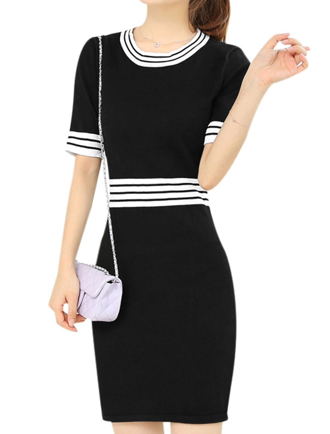 Ladies Stretchy Pullover Stripes Detail Short Sleeve Knit Sheath Dress Black S