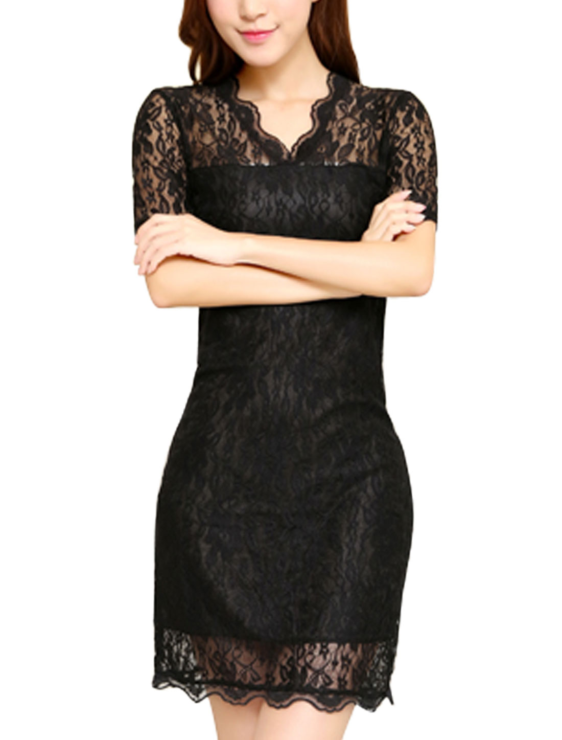 Women V Neckline Design Short Sleeve Semi Sheer Sexy Mini Lace Dress Black S