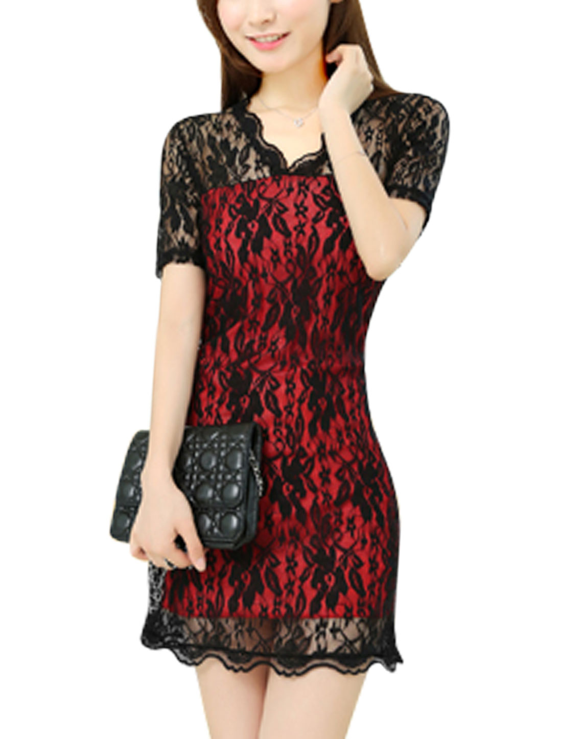 Lady V Neckline Short Sleeve Pullover Chic Lace Dress Black Red S