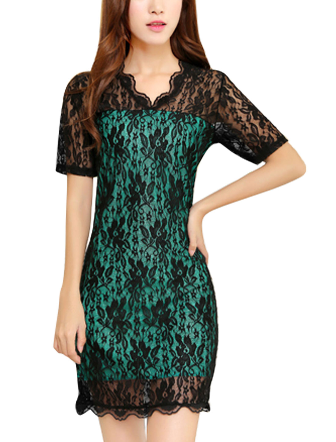 Women V Neckline Straight Scalloped Trim See Through Lace Dress Black Dark Green S