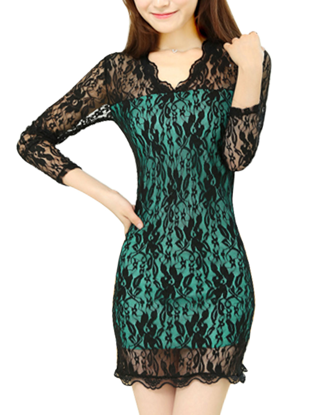 Women Long Sleeve V Neck Stretchy Mini Leisure Lace Dress Black Sea Green S