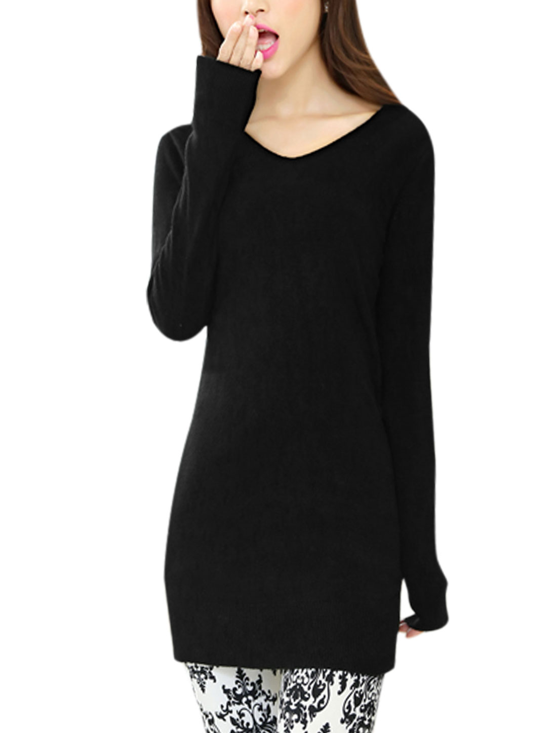Women V Neck Long Sleeve Cozy Fit Tunic Knit Shirt Black XS