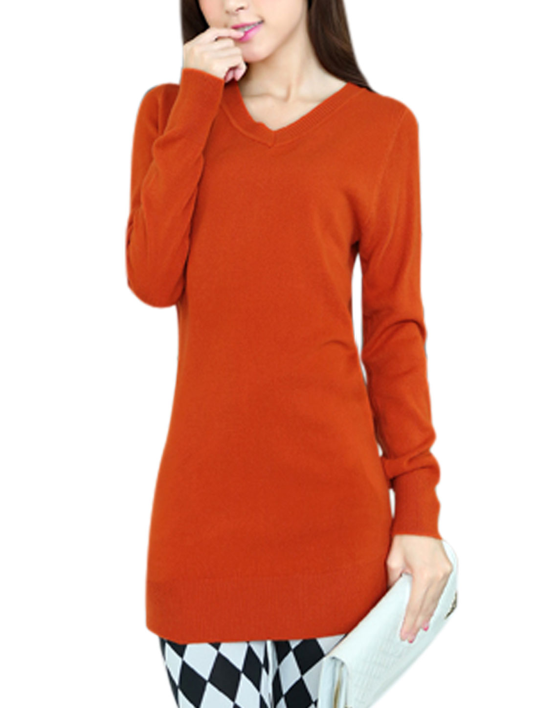Ladies Pullover Form-fitting Casual Orange Tunic Knit Shirt XS