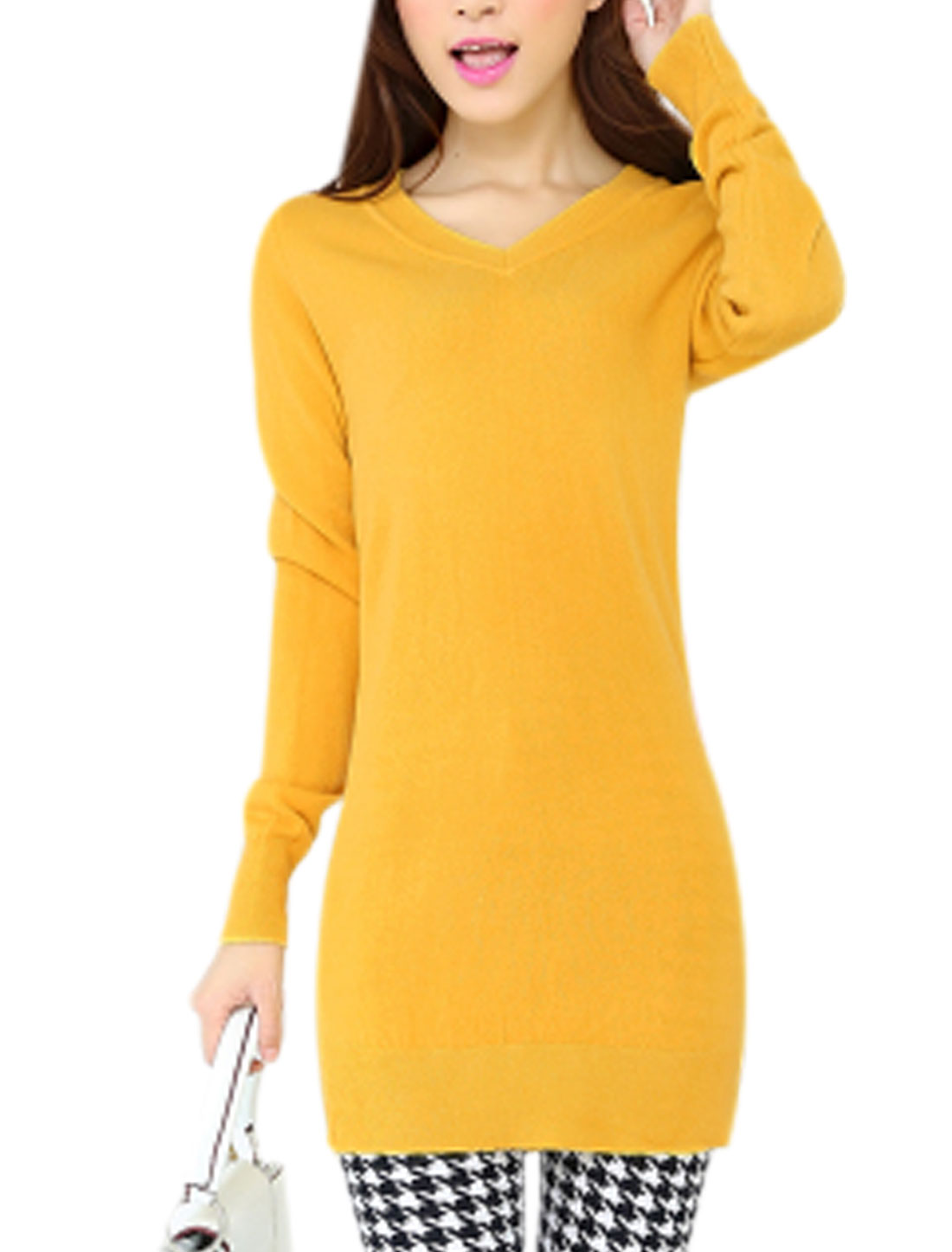 Lady Long Sleeves Slim Fit V Neck Yellow Tunic Knit Shirt XS