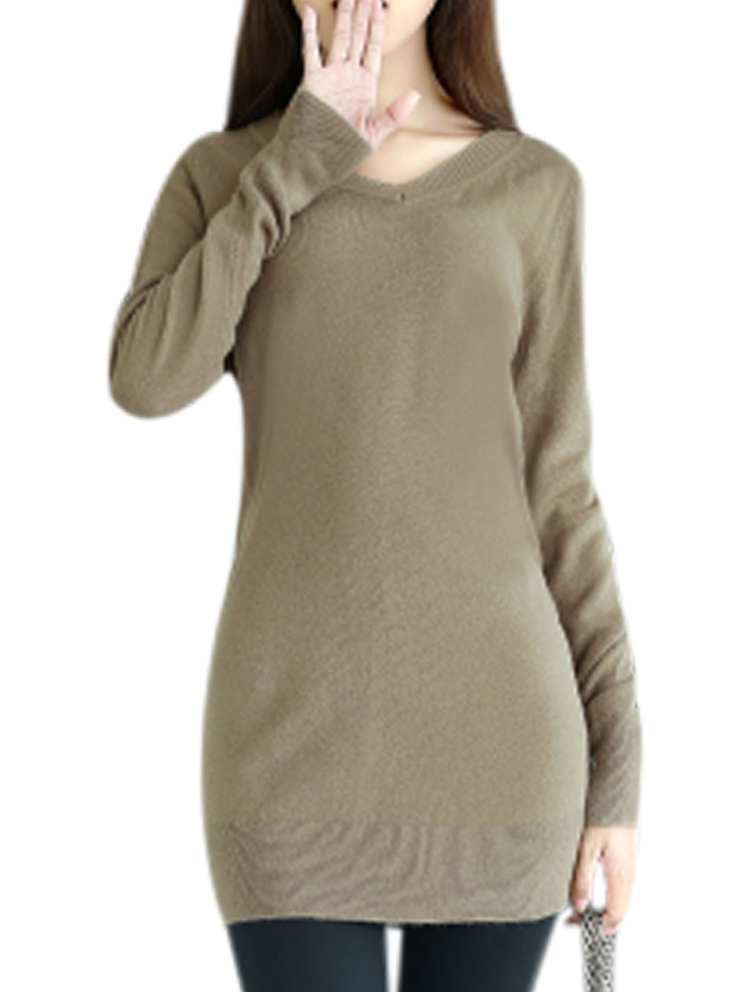 V Neck Long Sleeves Slim Fit Beige Tunic Knit Shirt for Women XS