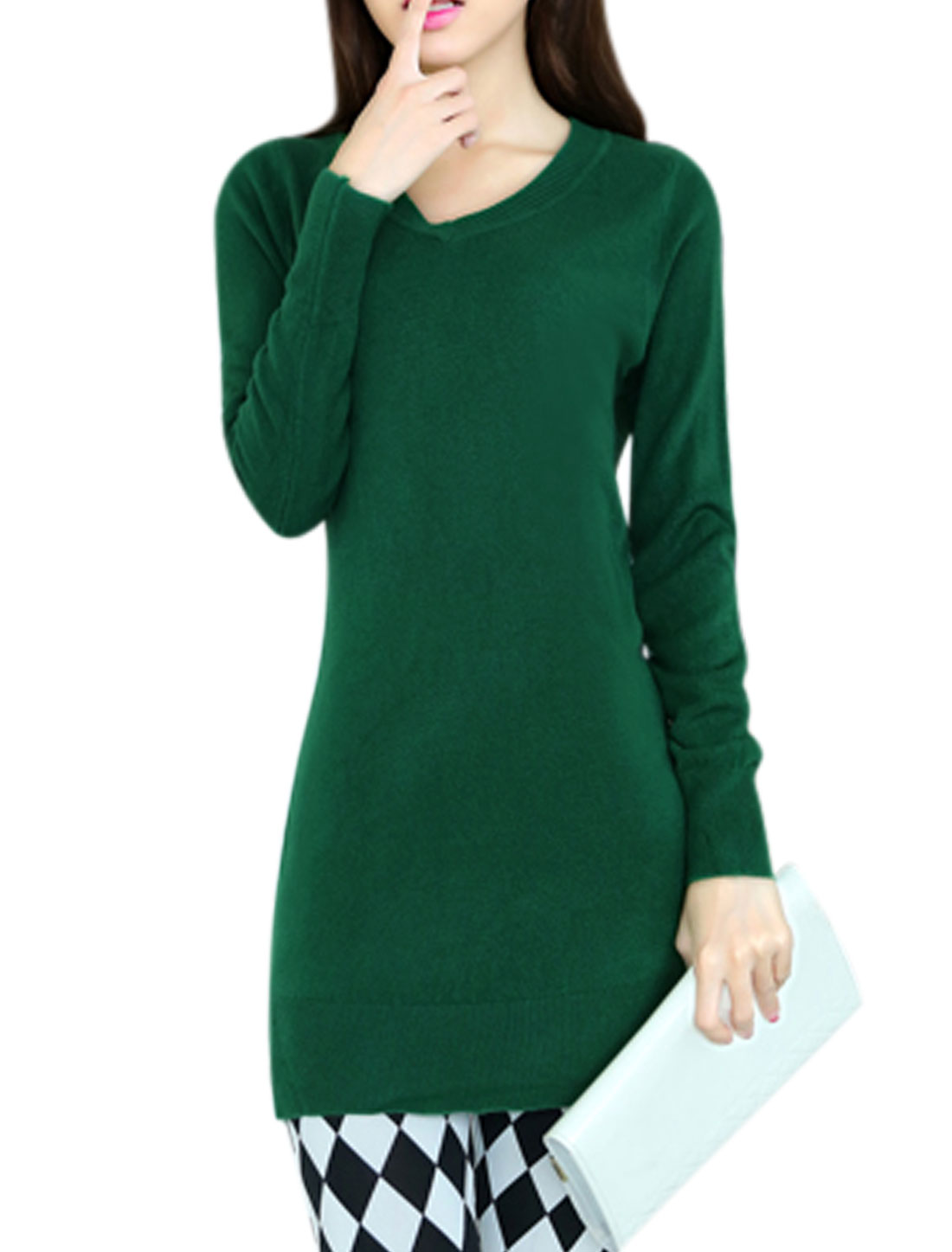 Long Sleeves Pullover Casual Dusty Green Tunic Knit Shirt for Woman XS