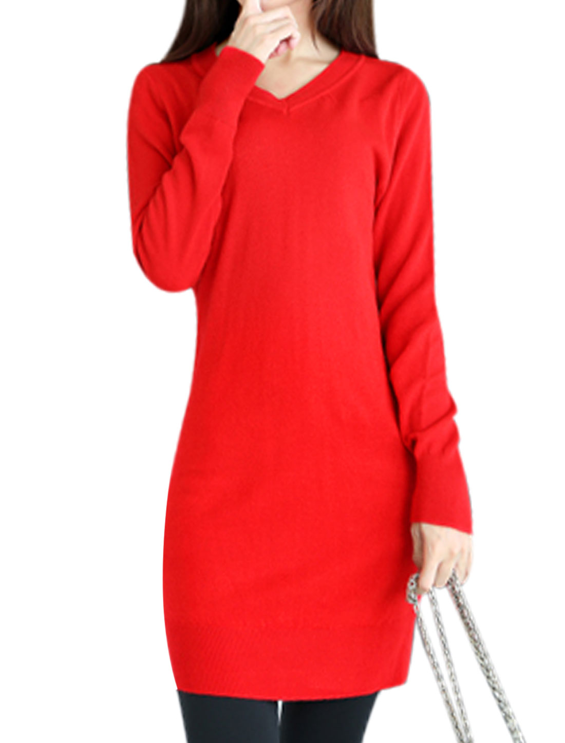 Fashion Design Long Sleeve Slim Fit Red Tunic Knit Shirt for Ladies XS