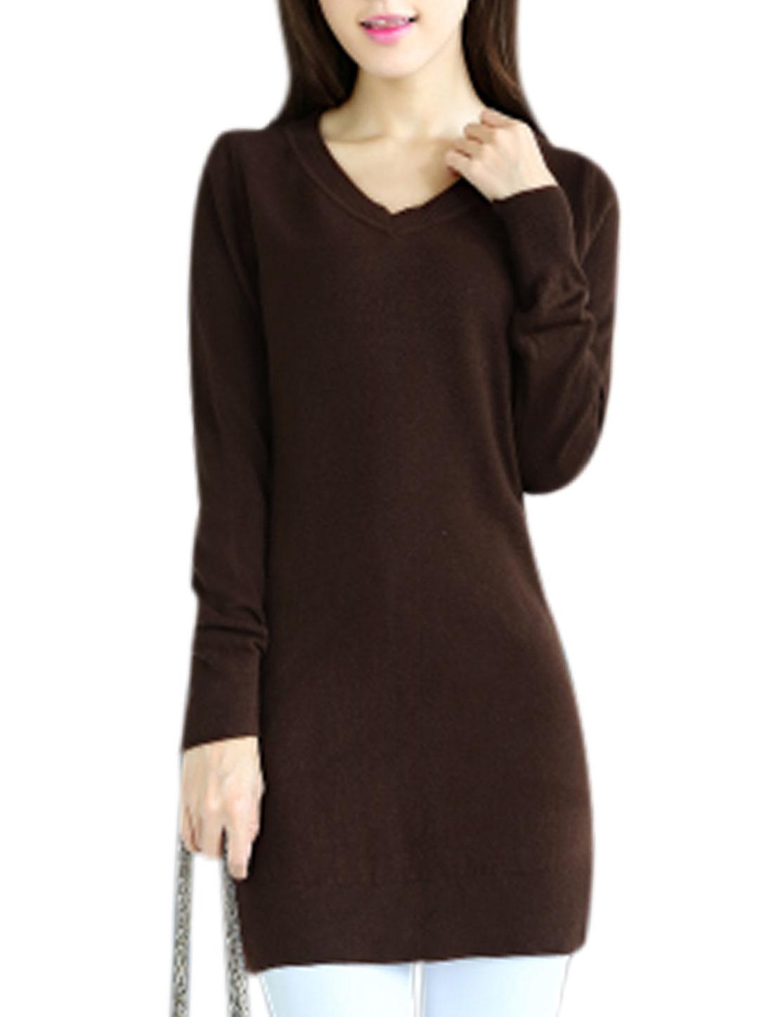 Slipover Long Sleeve Slim Fit Coffee Tunic Knit Shirt for Lady XS