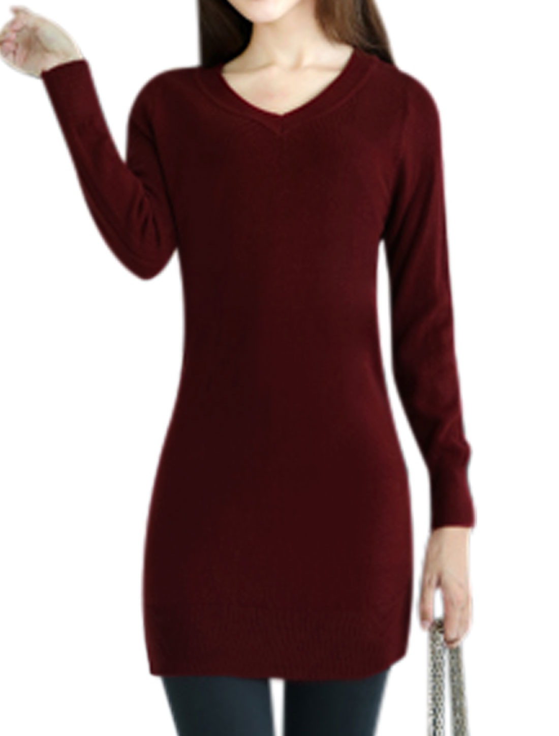 Women New Style Slim Fit Long Sleeves Burgundy Tunic Knit Shirt XS