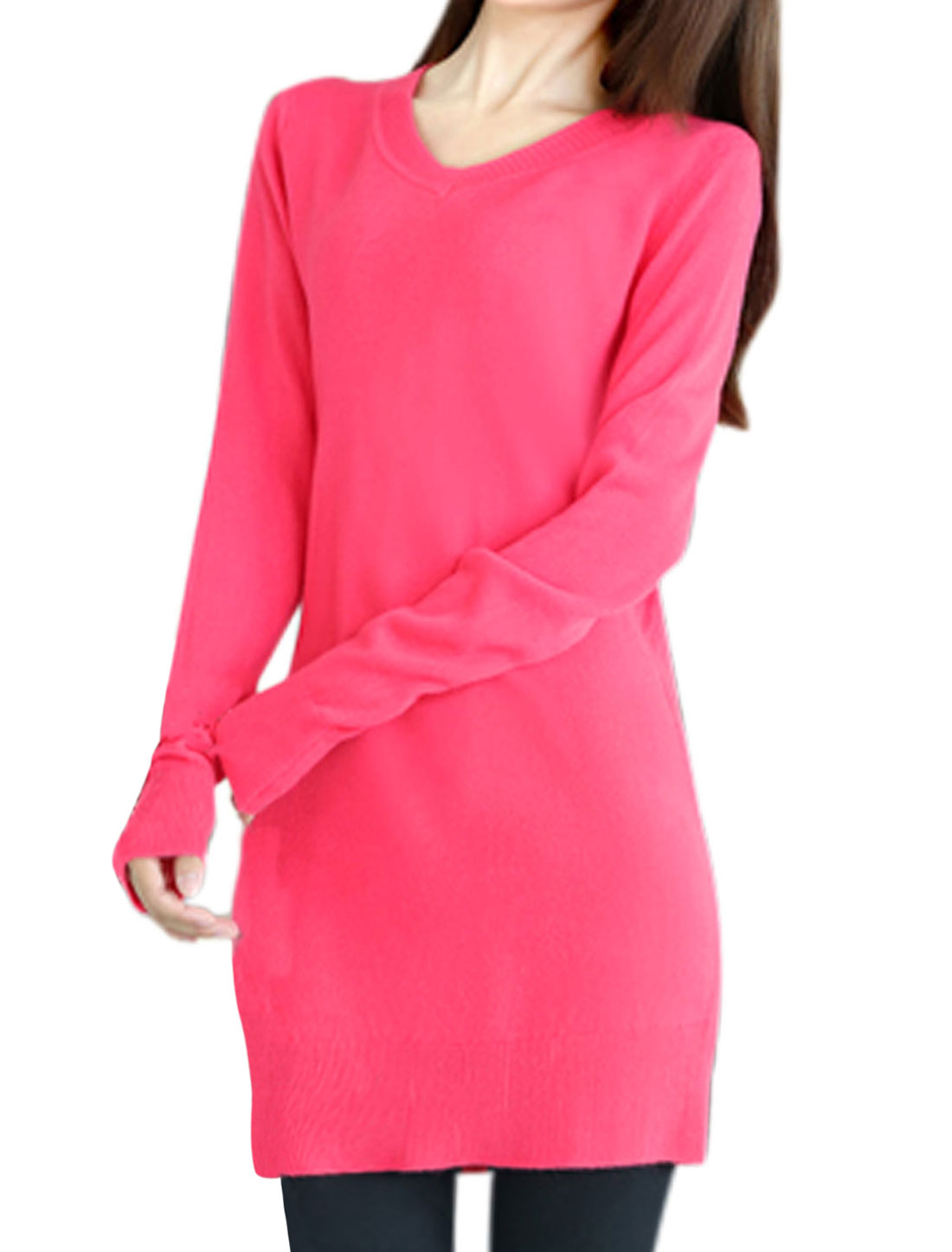 Slim Cut Design Long Sleeve Pink Tunic Knit Shirt for Ladies XS