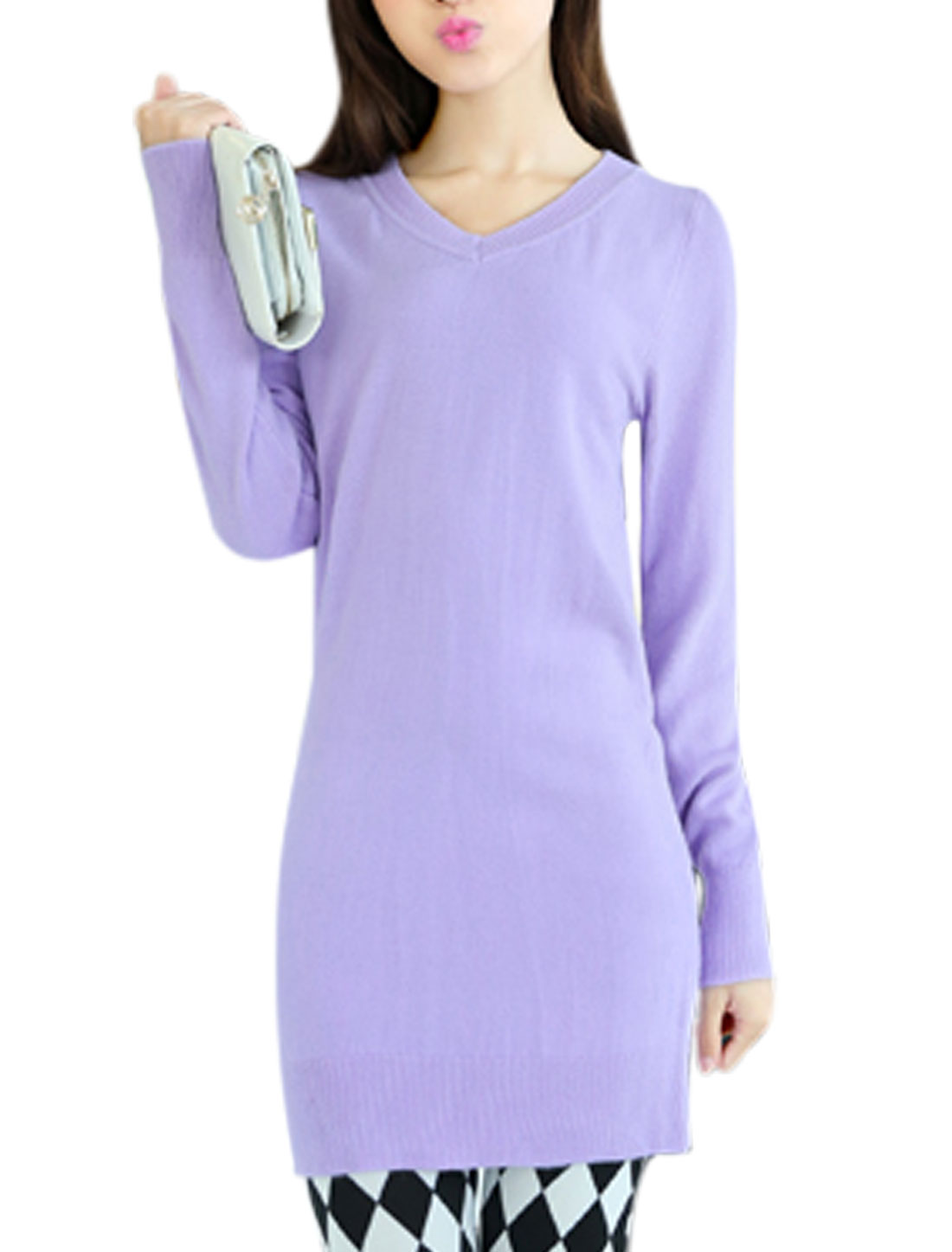 Lady Cozy Fit Long Sleeve Slipover Chic Light Purple Tunic Knit Shirt XS