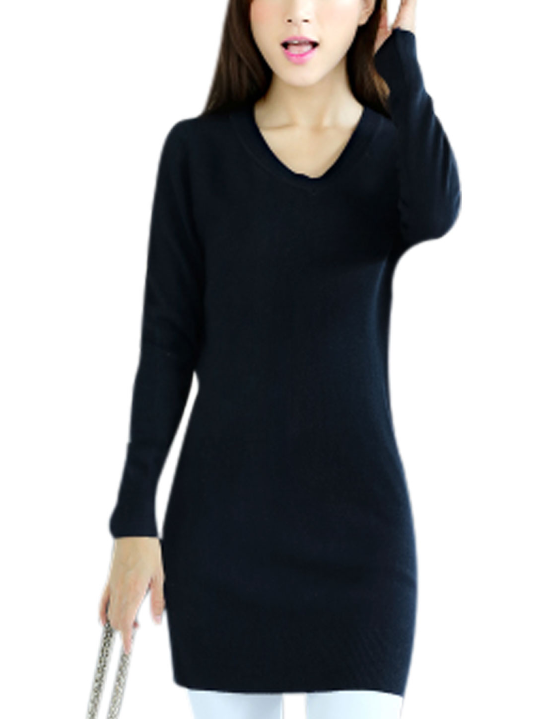 Leisure Design Long Sleeve Slim Cut Navy Blue Tunic Knit Shirt for Lady XS