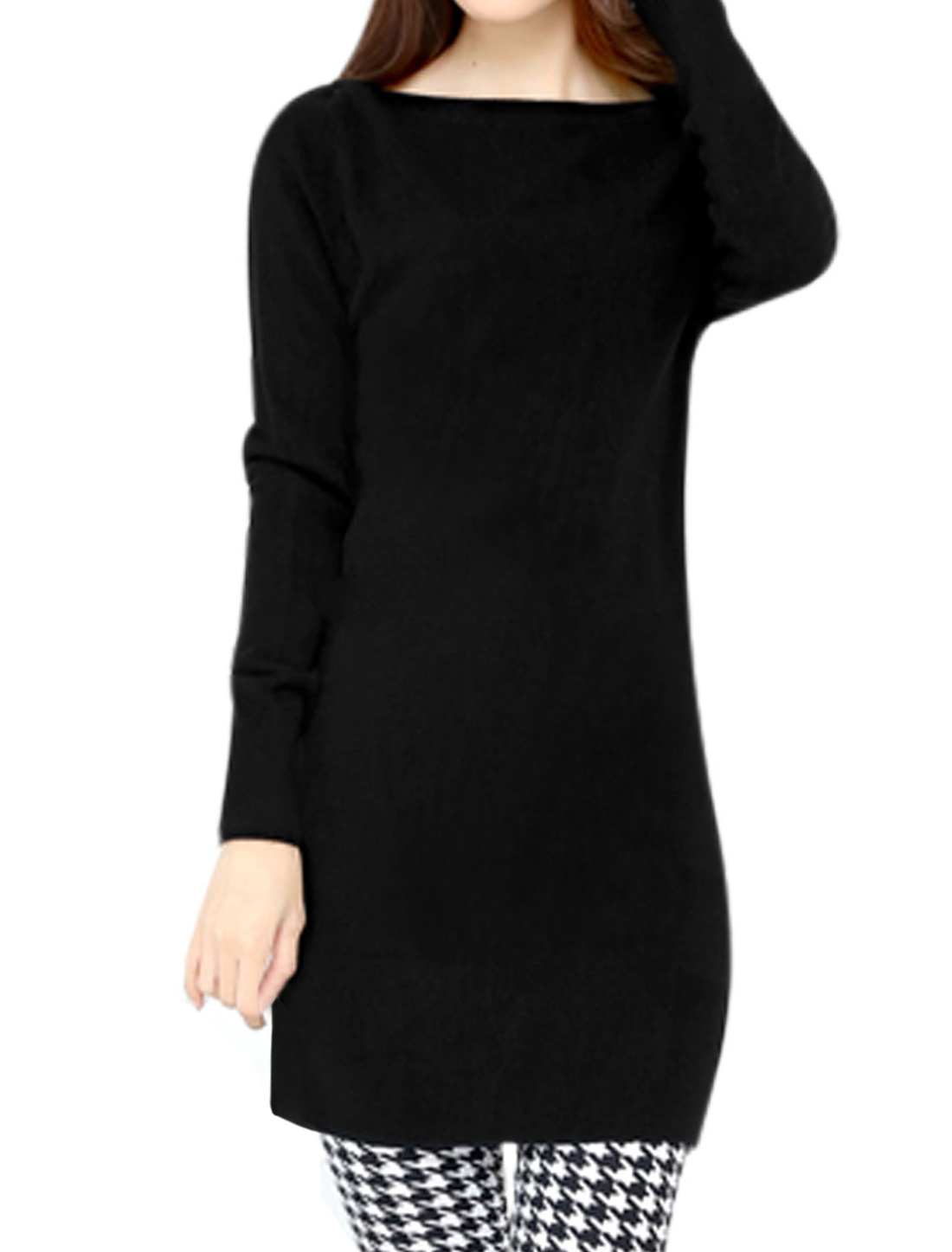 Women Boat Neck Long Sleeves Slim Fit Tunic Knit Top Black S