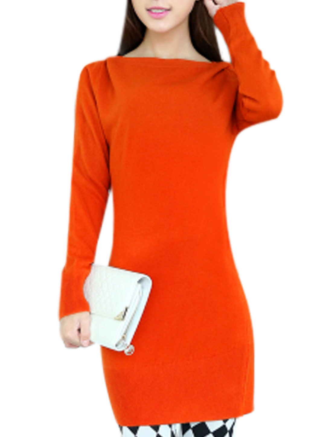 Ladies Cozy Fit Stretchy Full Sleeves Orange Tunic Knit Top S