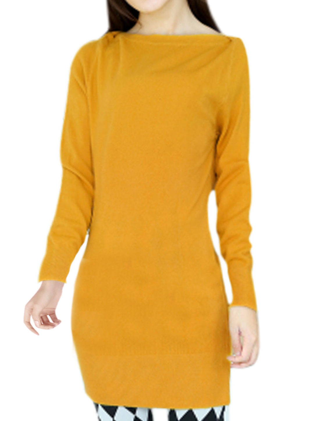 Lady Long Sleeves Boat Neck Stretchy Yellow Tunic Knit Top S