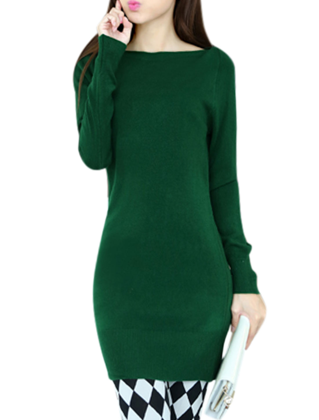 Stretchy Full Sleeves Dusty Green Tunic Knit Top for Woman S
