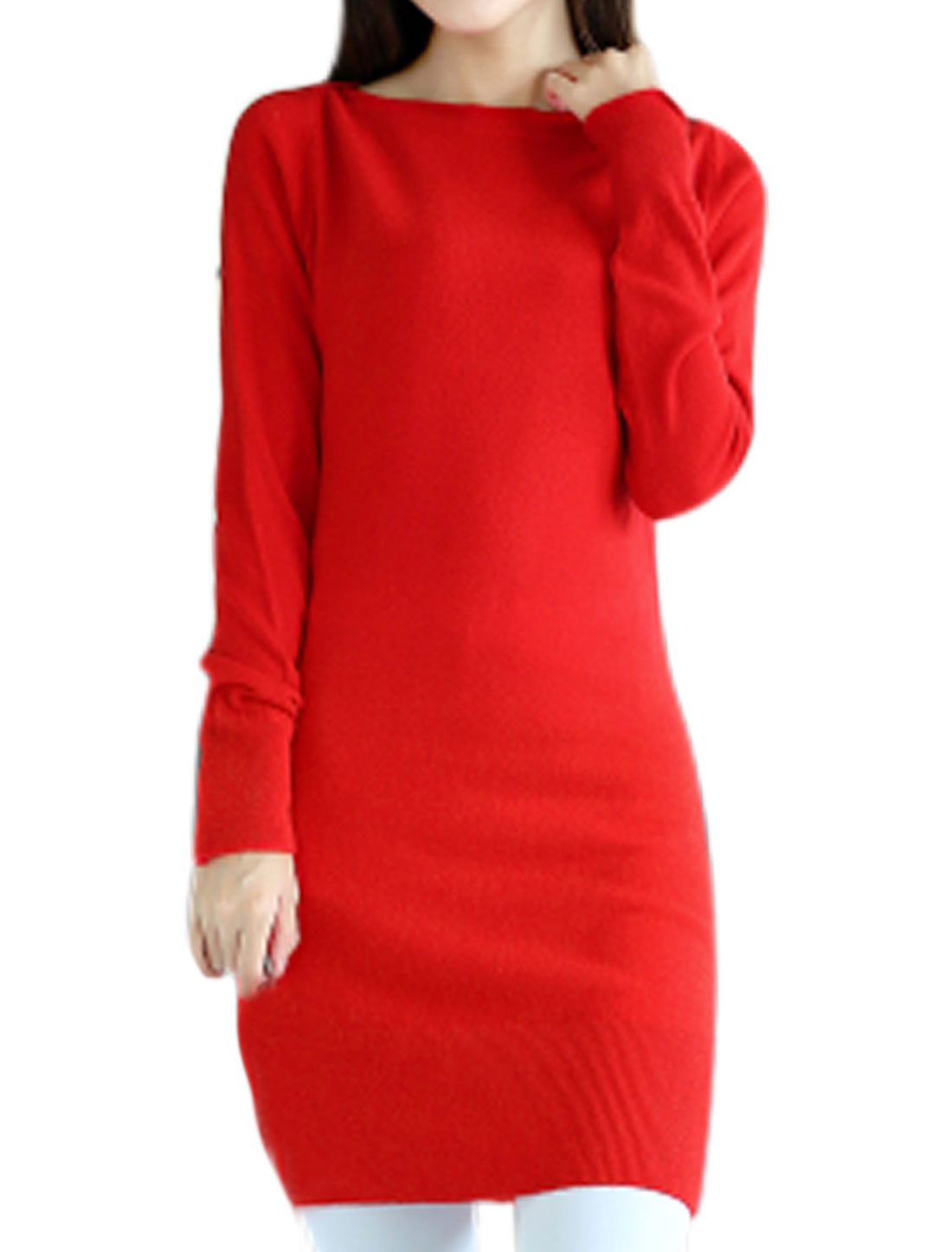 Slipover Boat Neck Stretchy Red Tunic Knit Top for Ladies S