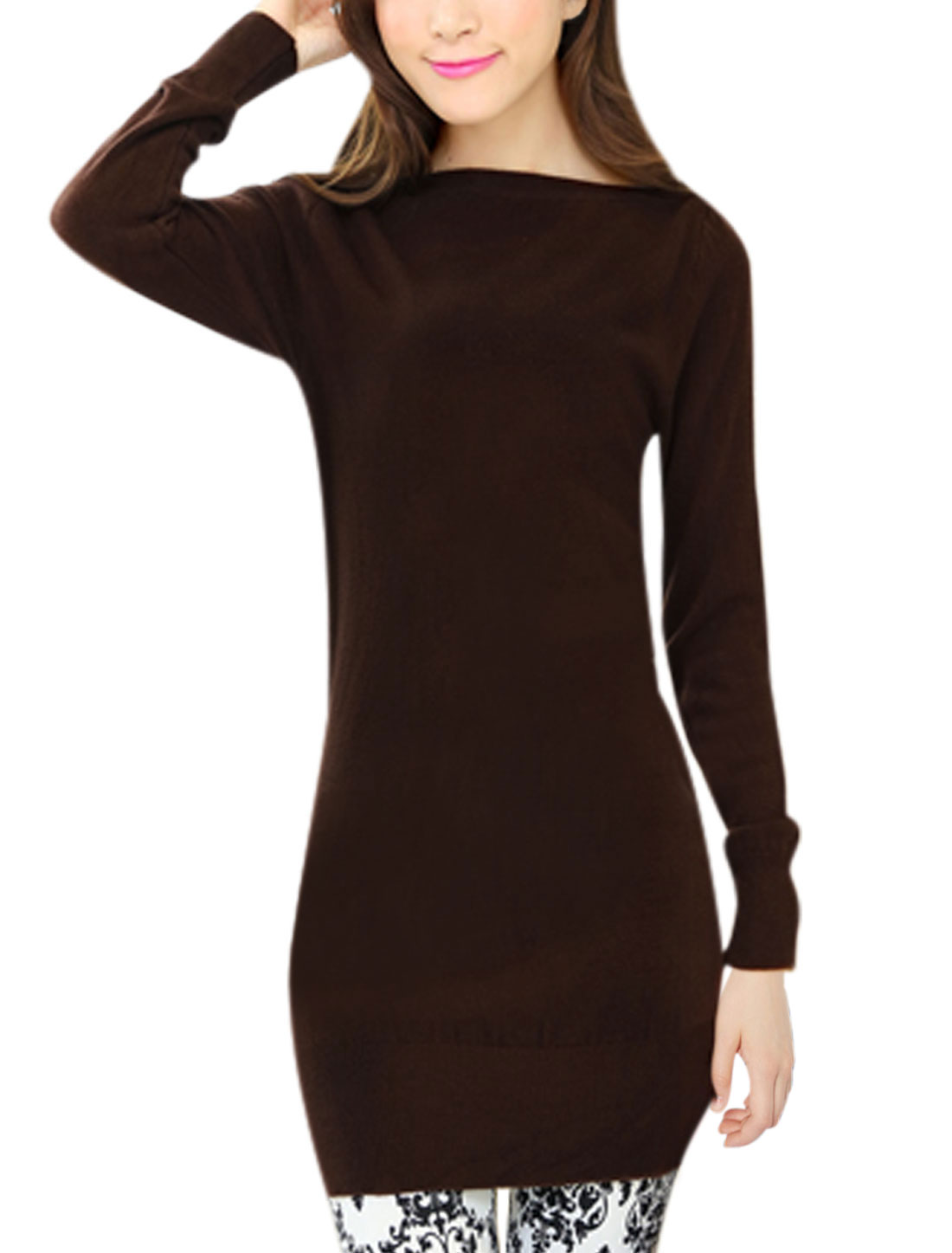 Casual Long Sleeves Pullover Coffee Tunic Knit Top for Lady S