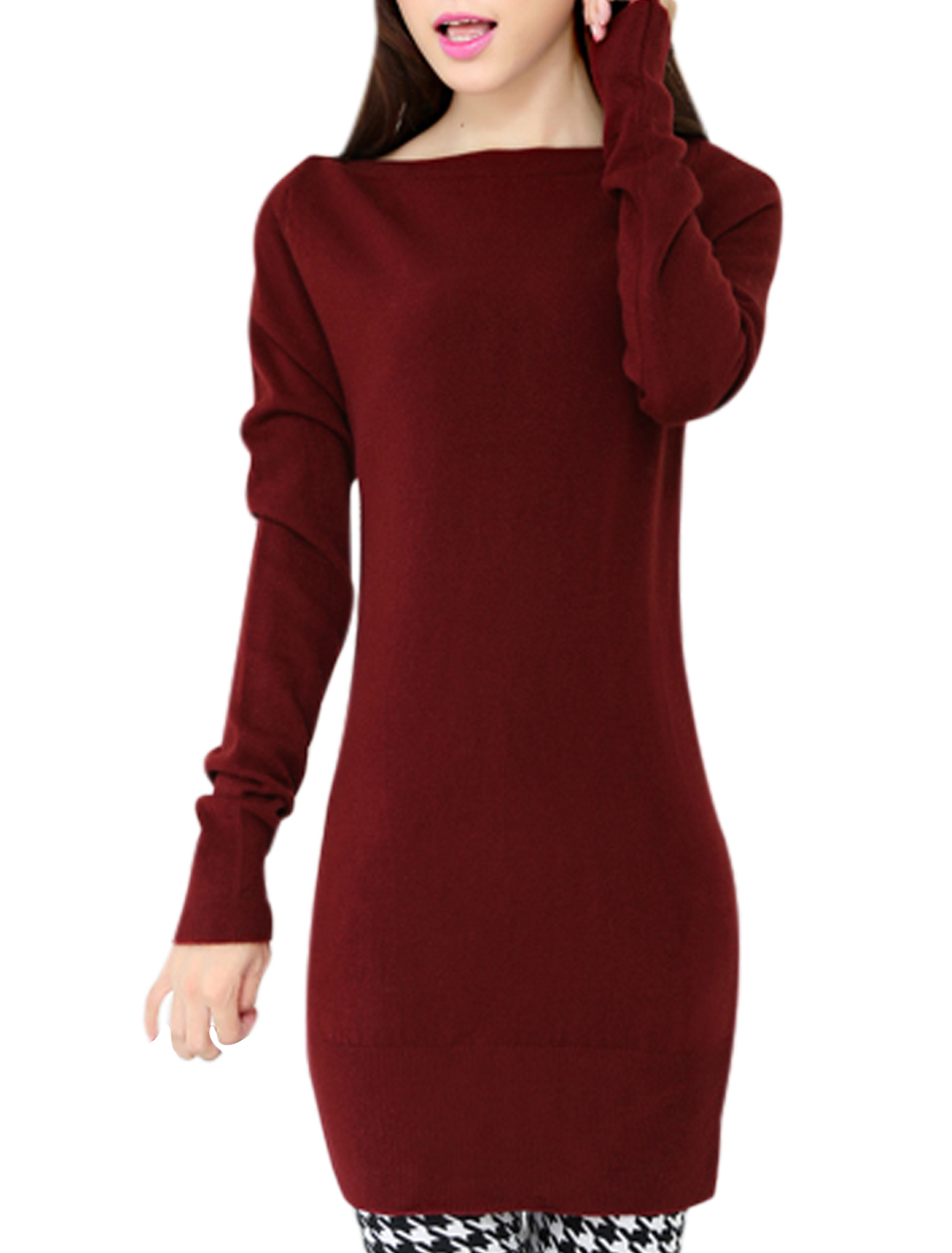 Fashion Long Sleeves Slipover Burgundy Tunic Knit Top for Women S
