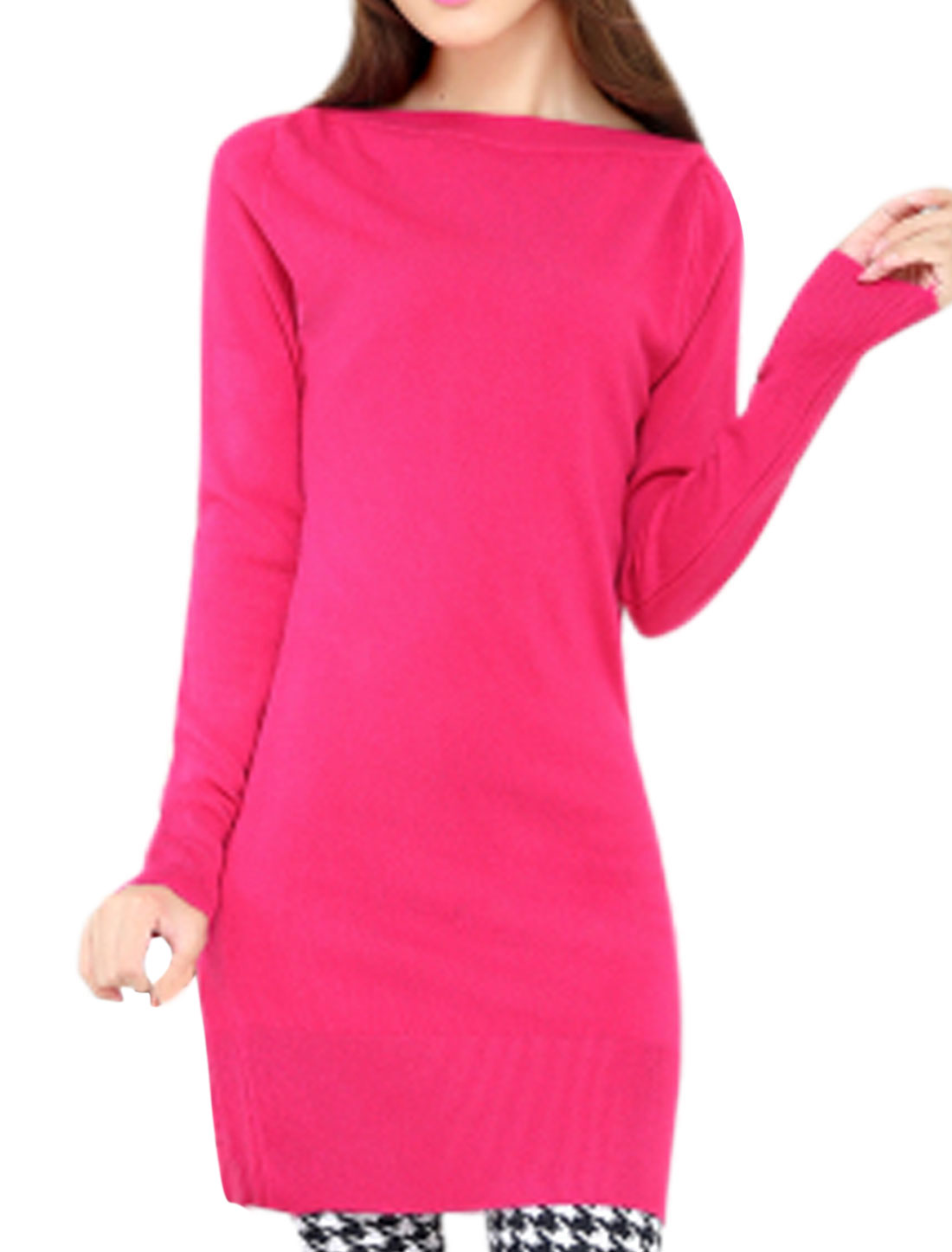 Stylish Slim Fit Boat Neck Pullover Fuchsia Tunic Knit Top for Woman S