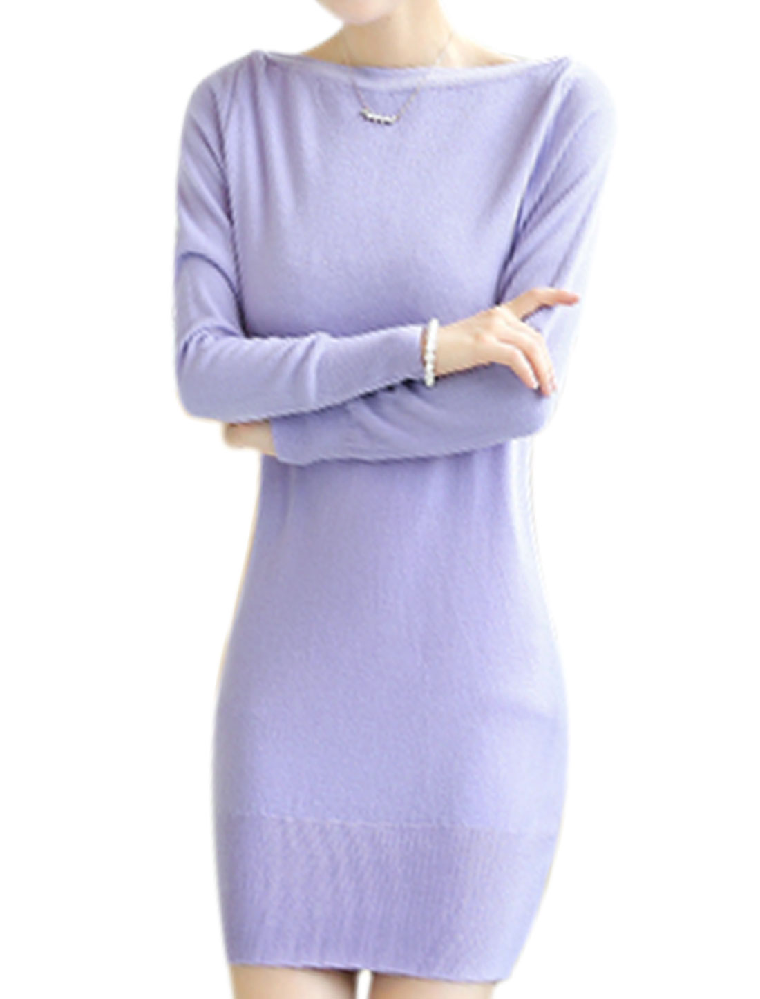 Chic Casual Design Long Sleeves Light Purple Tunic Knit Top for Ladies S