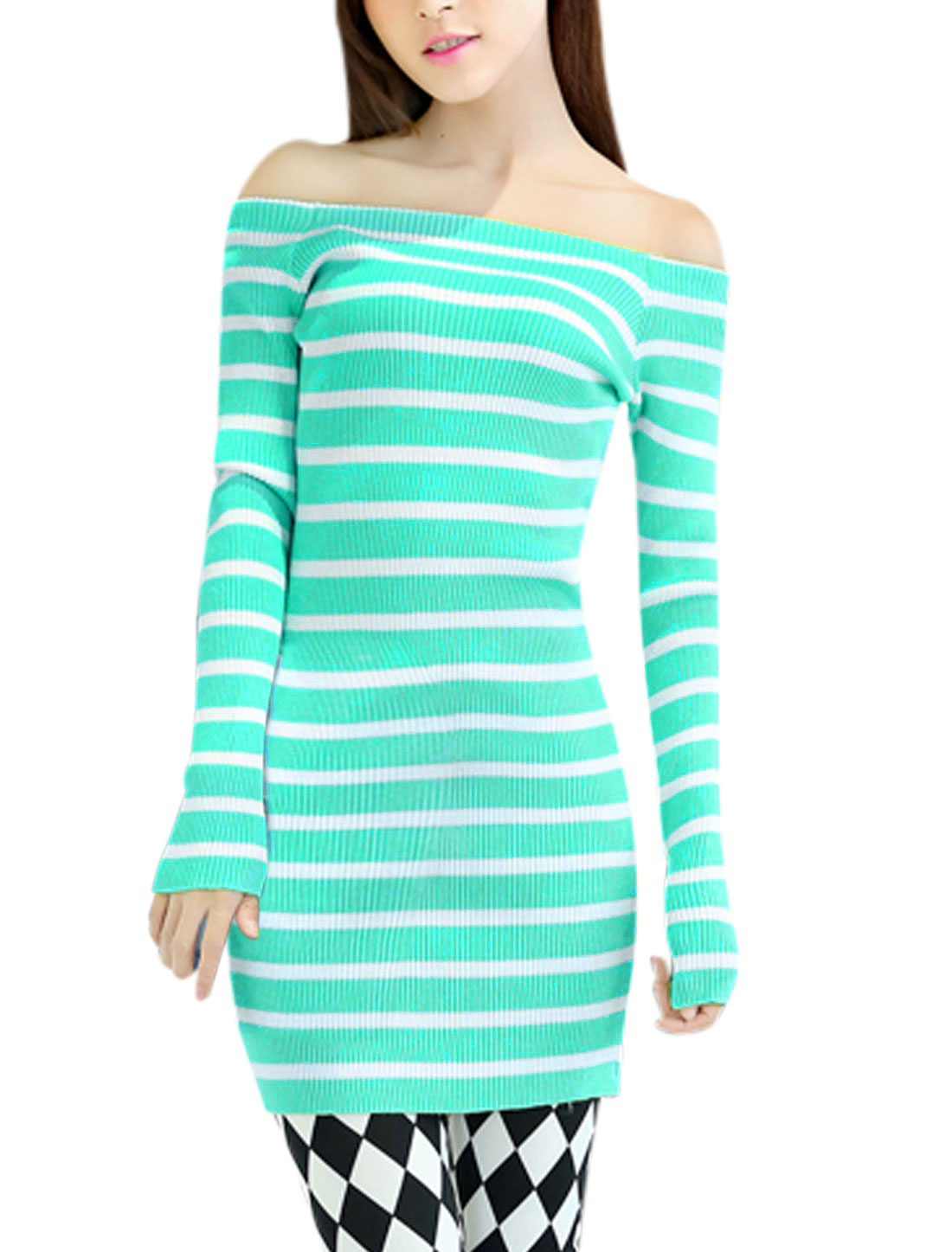 Women Bar Striped Long Sleeve Sexy Knit Dress Mint S