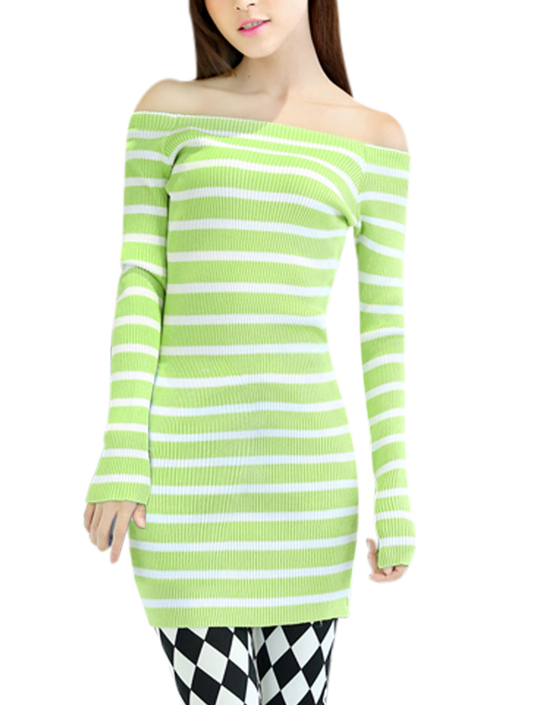 Lady Off Shoulder Long-sleeved Fitting Sheath Dress Apple Green S