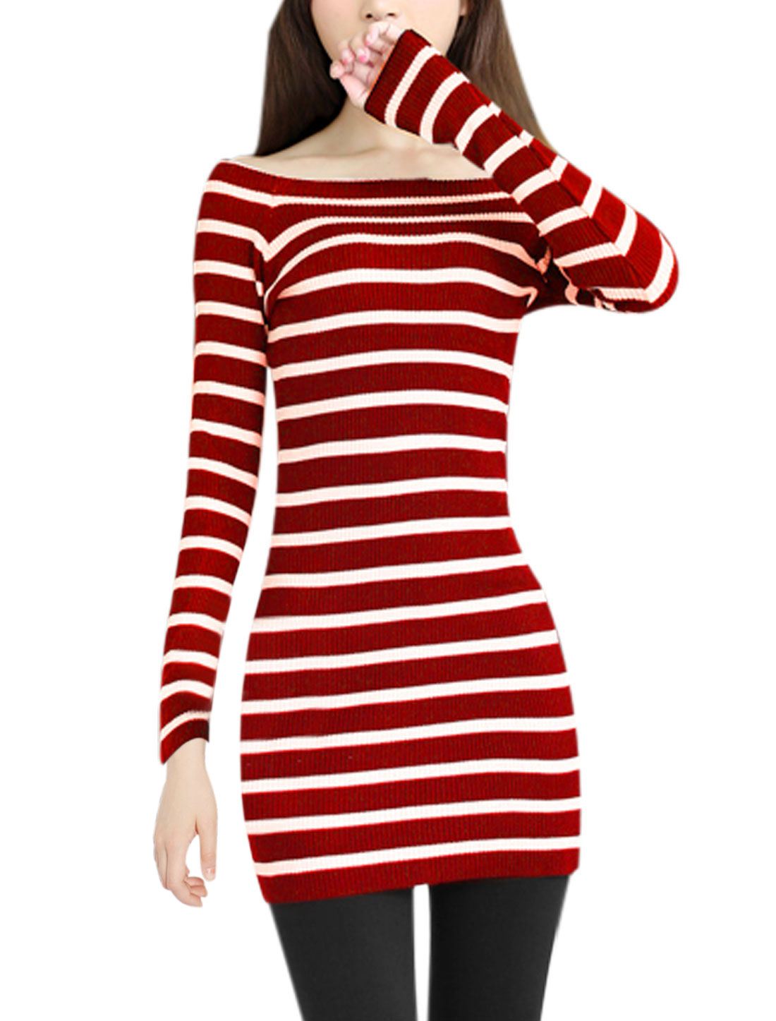 Ladies New Style Off Shoulder Long Sleeve Skinny Casual Knitted Dress Red S