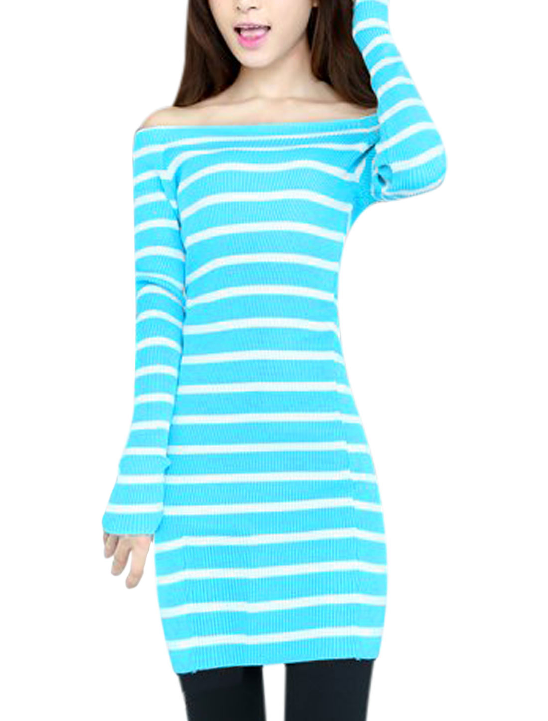 Ladies Horizontal Stripes Over Hip Off Shoulder Knit Dress Aqua S