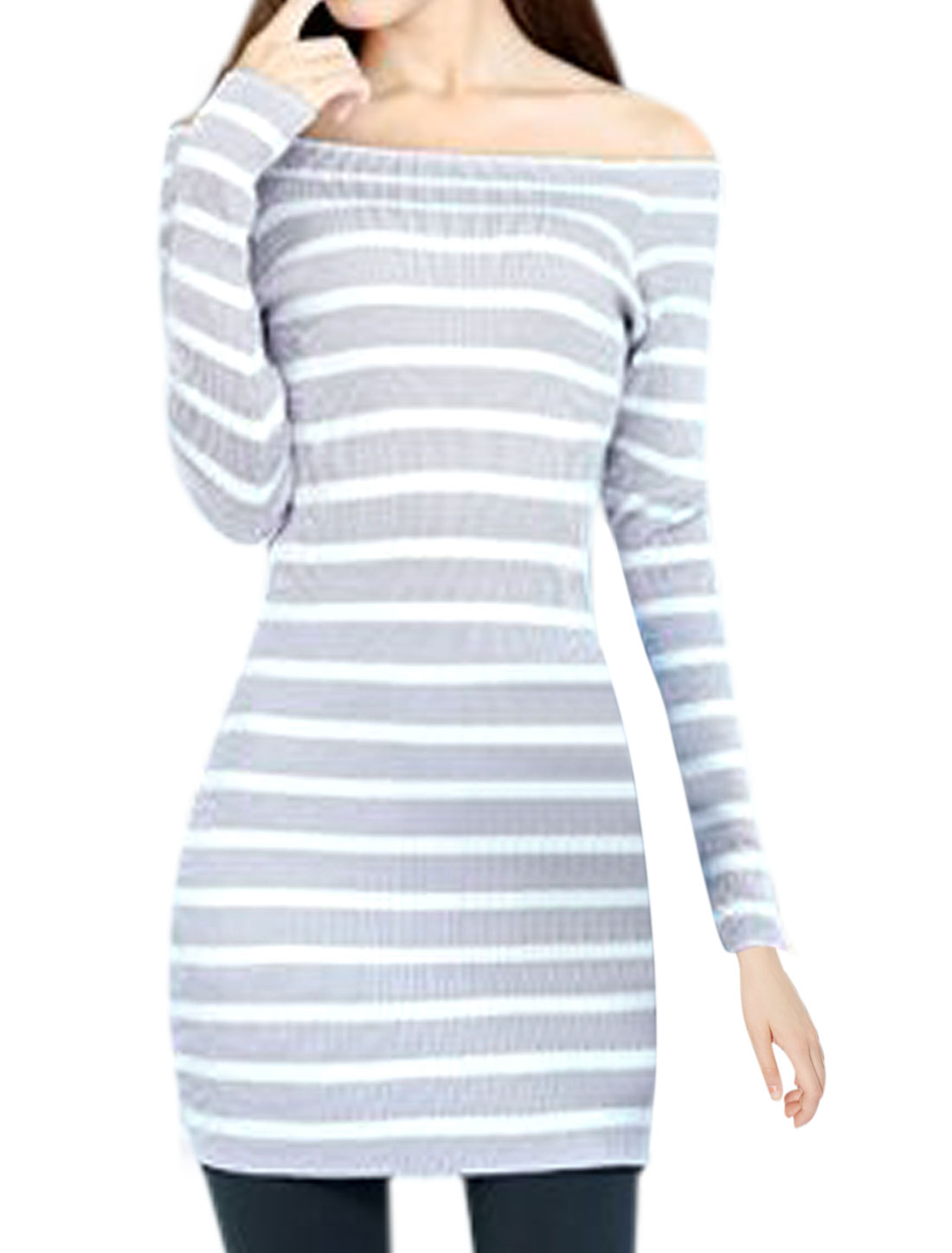 Ladies Stretchy Off Shoulder Design Stripes Slipover Sheath Dress Lavender S