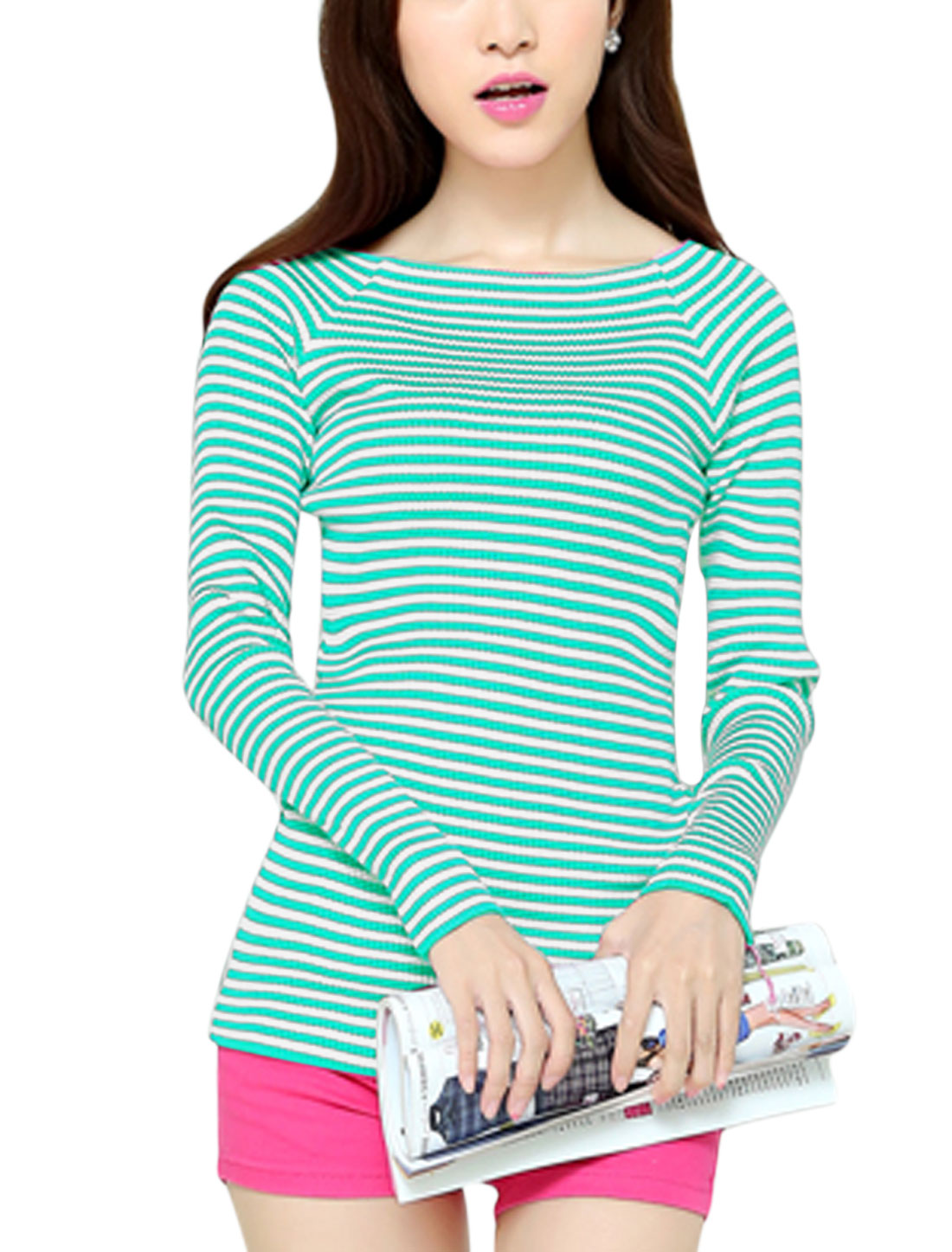 Ladies Stripes Raglan Sleeves Pullover Aqua White Knit Shirt XS