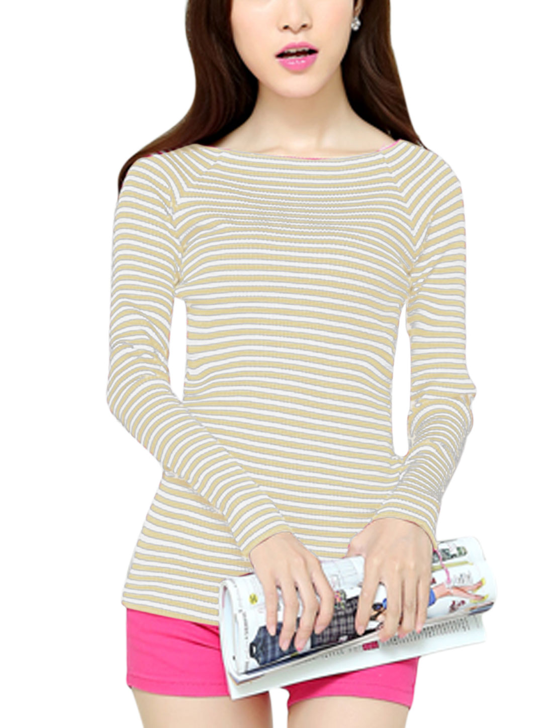 Woman Long Raglan Sleeves Stripes Slim Fit Beige White Knit Shirt XS