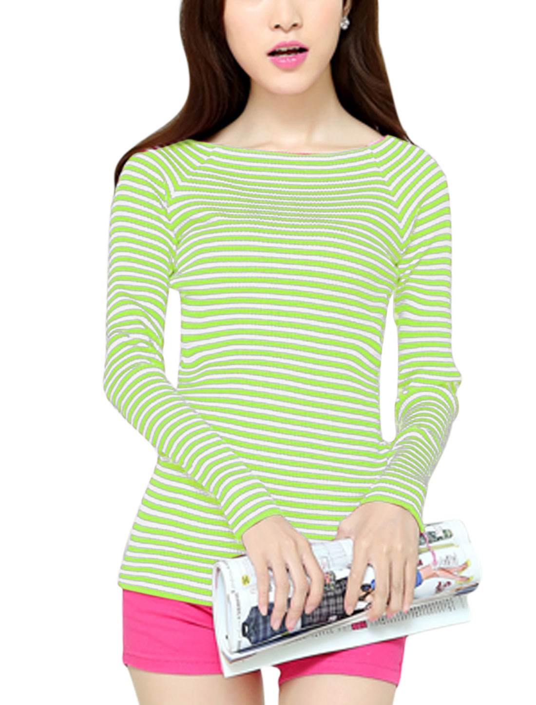 Lady Raglan Sleeves Stripes Cozy Fit Green White Knit Shirt XS