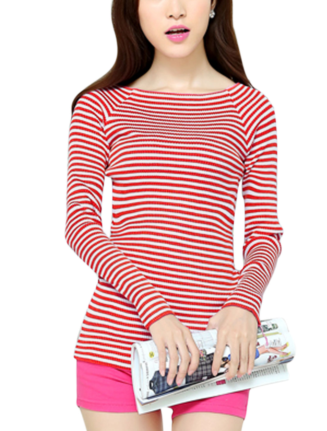 Red White Stripes Long Sleeve Stylish Knit Shirt for Women XS