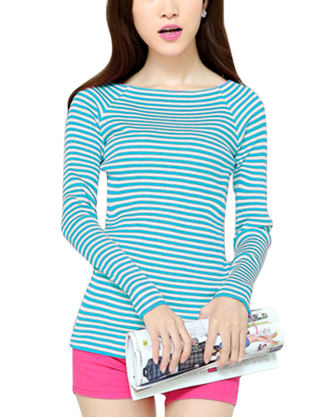 Stripes Raglan Sleeve Closed Fit Blue White Knit Shirt for Woman XS