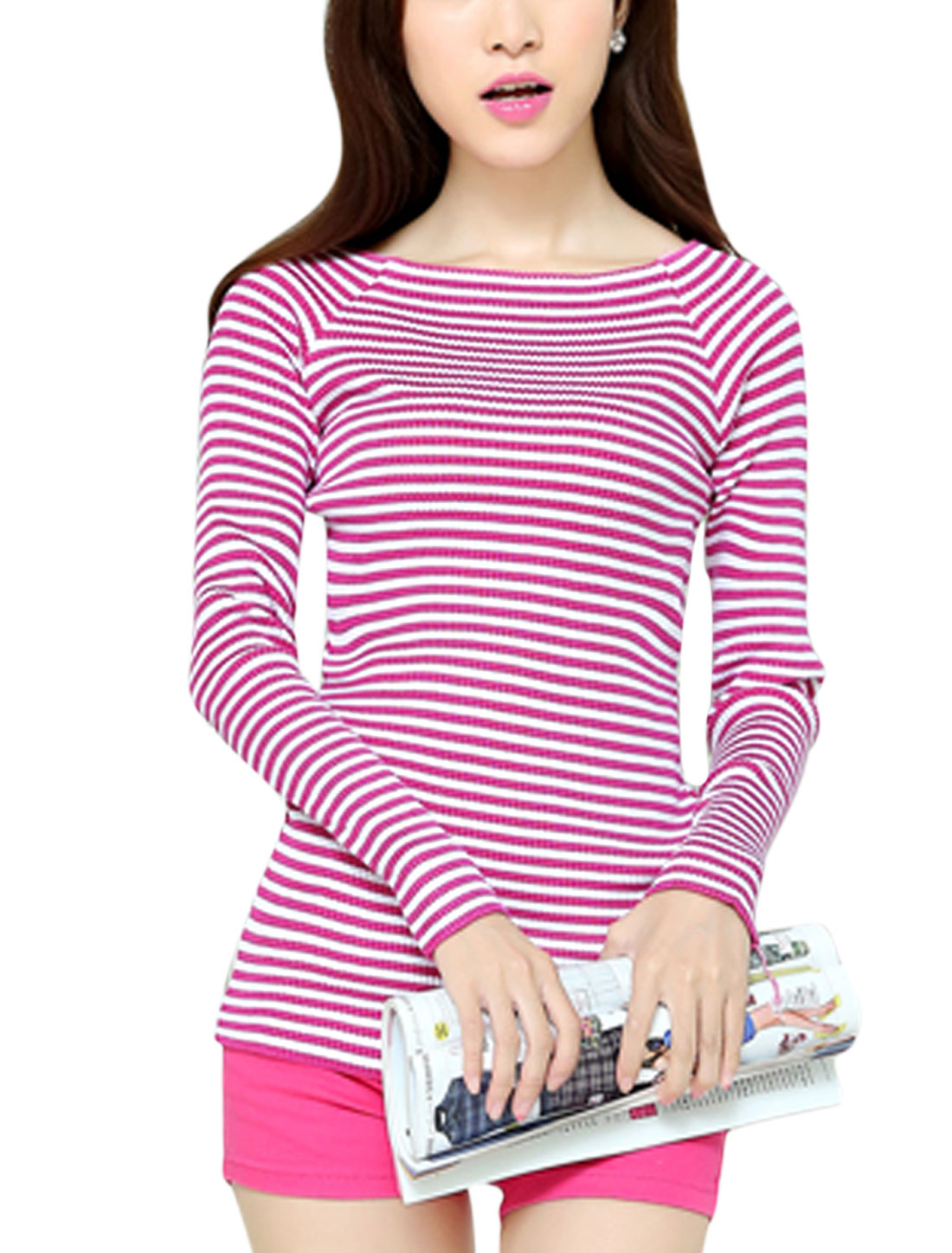 Women Stylish Design Stripes Off Shoulder Fuchsia White Knit Shirt XS