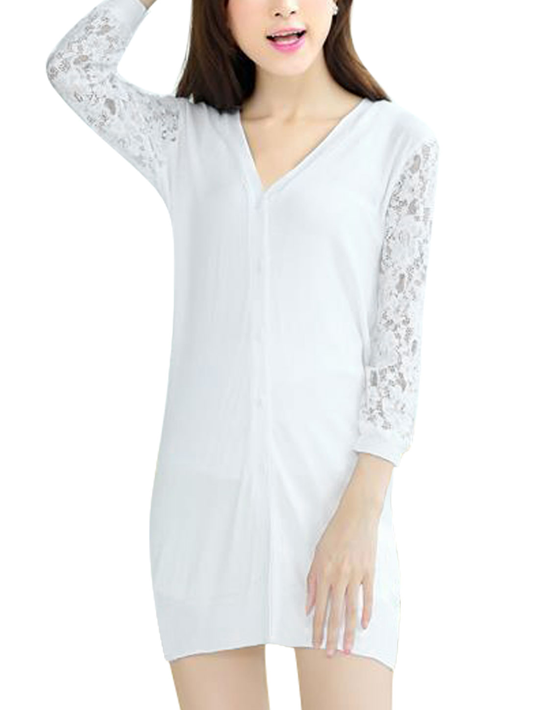 Women V Neckline Design Lace Spliced 3/4 Sleeve Chic Knit Cardigan White S