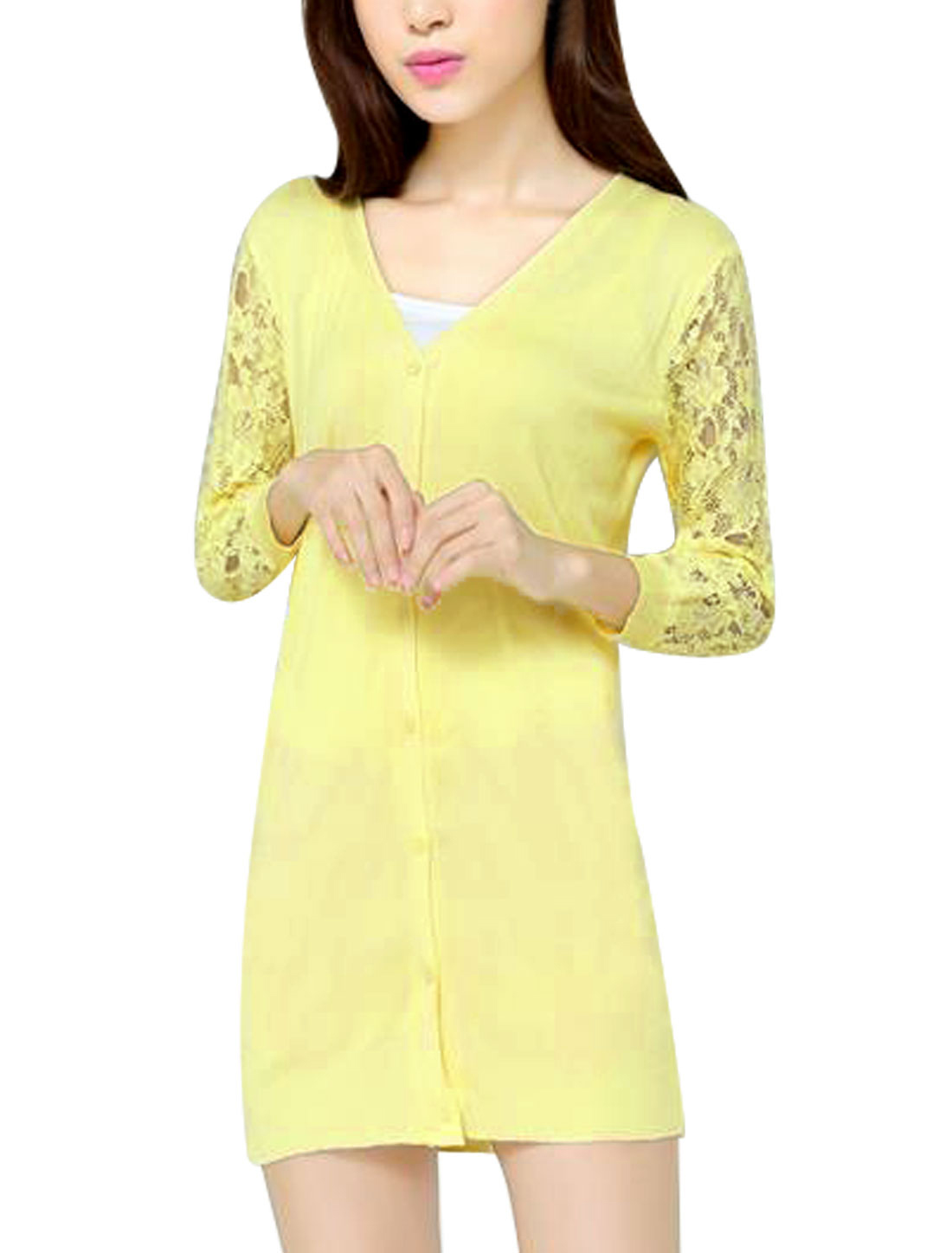 Women Plunging Neck 3/4 Sleeves Button Down Fashion Knit Cardigan Light Yellow S