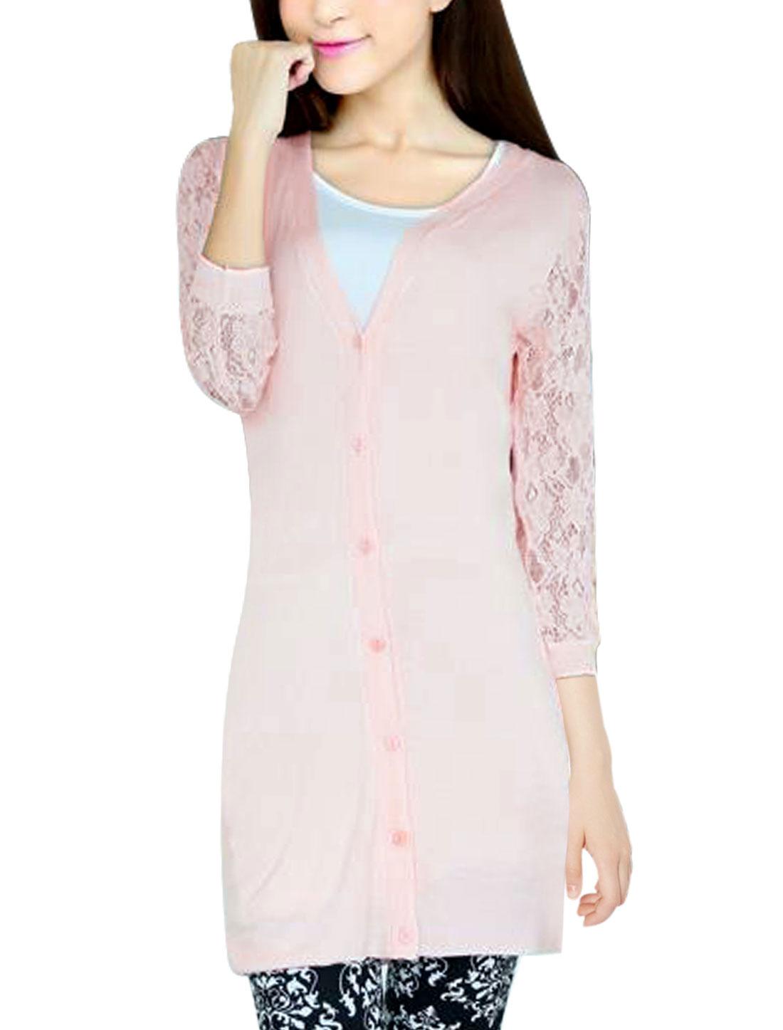 Women Lace Panel Design V Neck Button Closure Knit Cardigan Pale Pink S