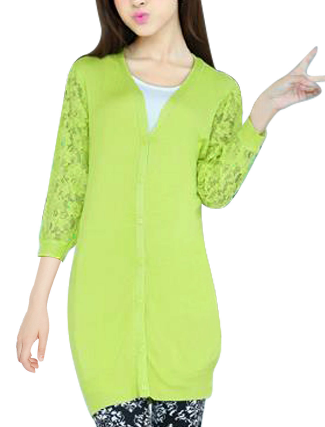 Women Single Breasted 3/4 Sleeve Ribbed Trim Chic Knit Cardigan Green Yellow S