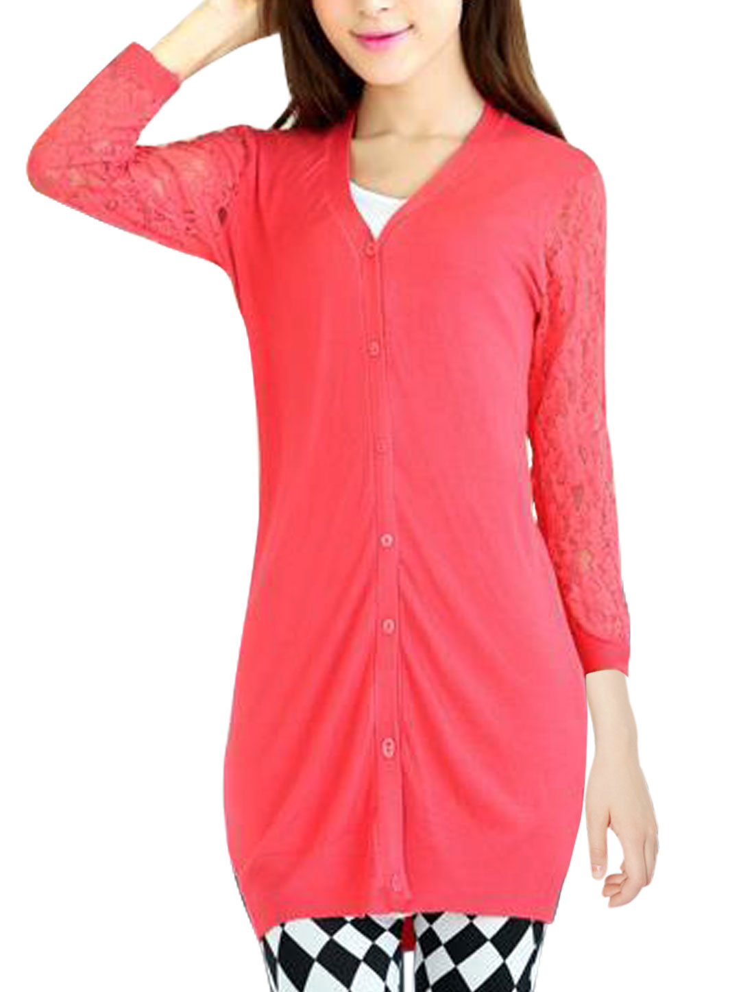 Lady V Neck Lace Splicing Tunic Knit Cardigan Watermelon Red S