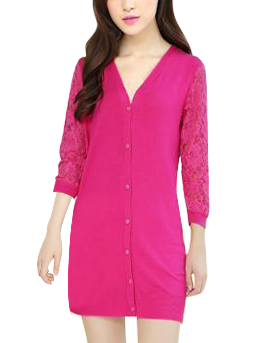 Lady Single Breasted Slim Fit 3/4 Lace Sleeve Knit Cardigan Fuchsia S