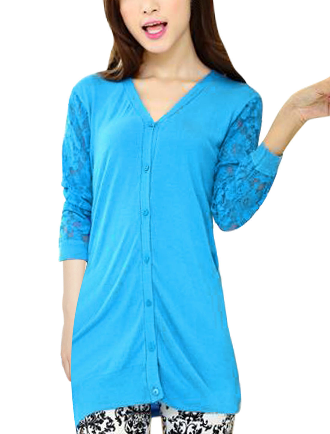 Lady Button Down Lace Sleeves Chic Fitting Knit Cardigan Cyan S