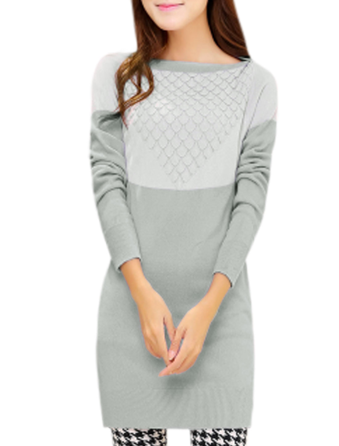 Women Contrast Color Scalloped Textured Design Tunic Knit Top Light Gray White S