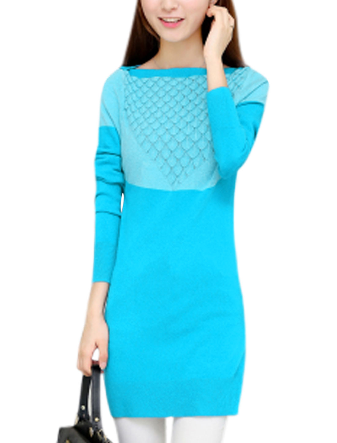 Lady Long Sleeve Color Block Stretchy Knit Top Turquoise Sky Blue S