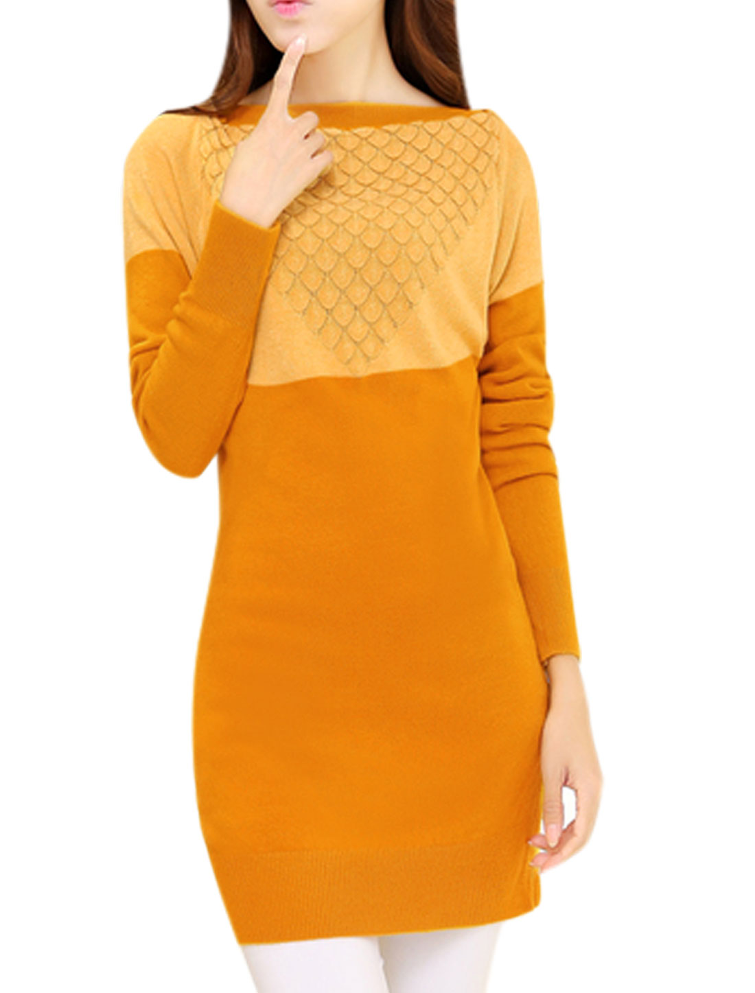 Ladies Waved Design Color Blocking Long Sleeve Ochre Knit Top S