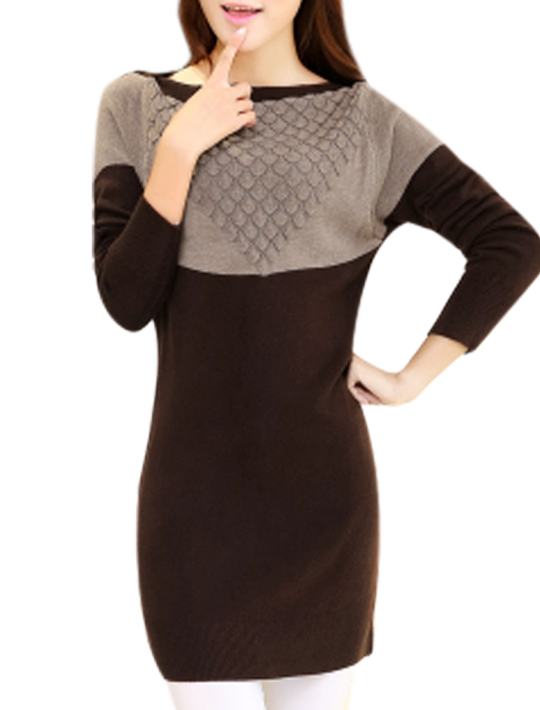 Lady Contrast Color Boat Neck Stretchy Casual Knit Top Dark Brown Taupe S
