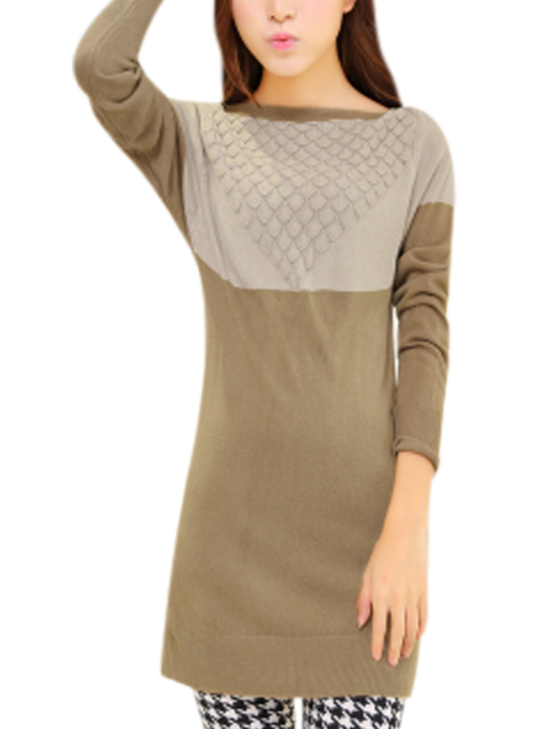 Lady Color Blocking Boat Neck Tunic Stylish Chic Knitted Top Sand Taupe S