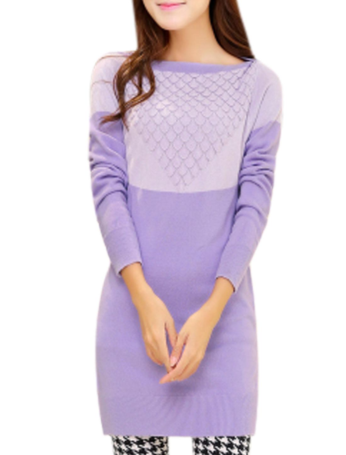 Women Contrast Color Boat Neck Tunic Leisure Knit Top Light Violet Lilac S